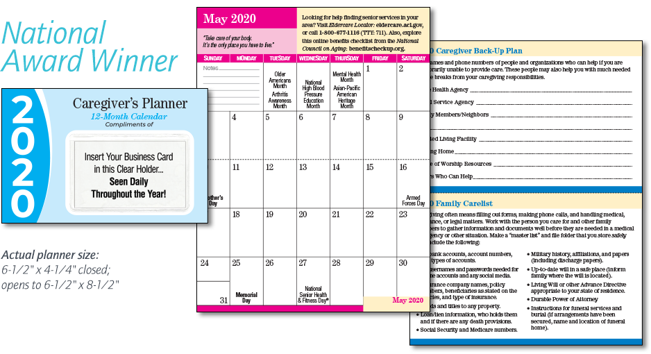 Caregiver's Pocket Planner Calendars